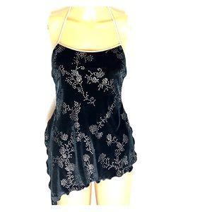 Black Velvet halter dress with sequin detail